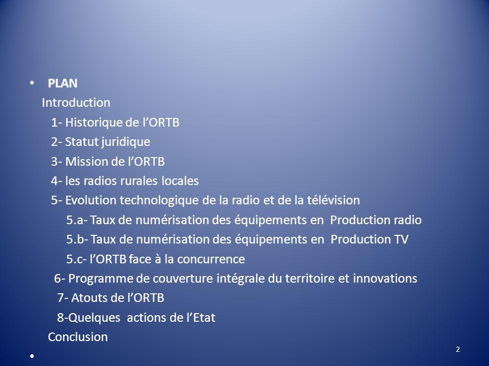 PLAN Introduction. 1- Historique de l'ORTB. 2- Statut juridique. 3- Mission de l'ORTB. 4- les radios rurales locales.