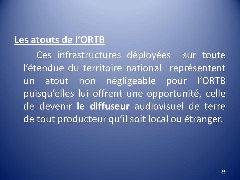 Les atouts de l'ORTB Ces infrastructures déployées sur toute l'étendue du territoire national représentent un atout non négligeable pour l'ORTB puisqu'elles lui offrent une opportunité, celle de devenir le diffuseur audiovisuel de terre de tout producteur qu'il soit local ou étranger.