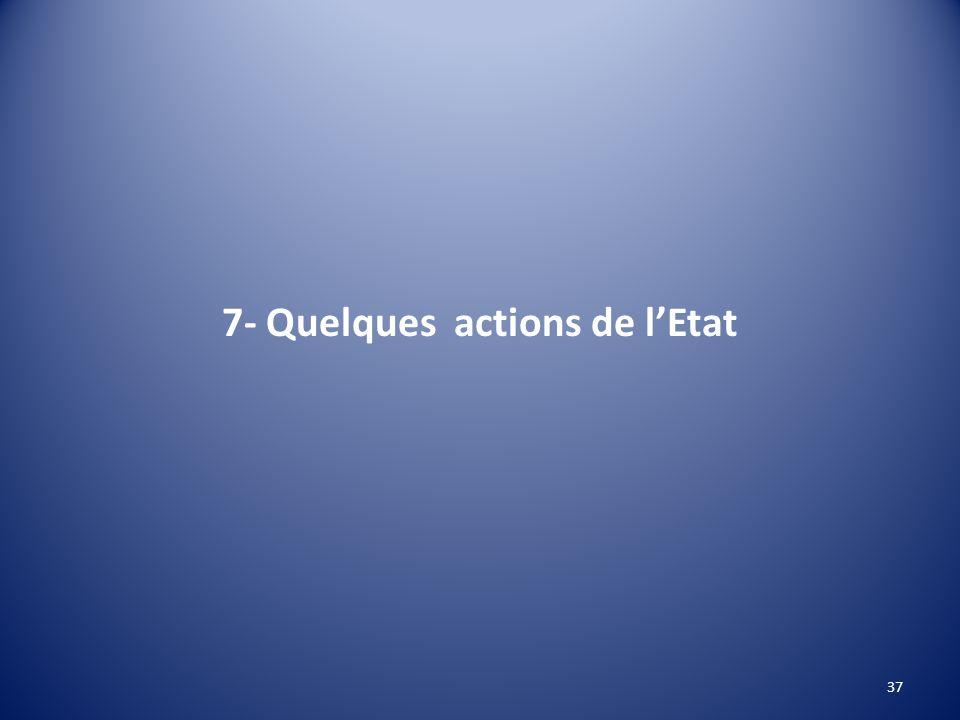 7- Quelques actions de l'Etat