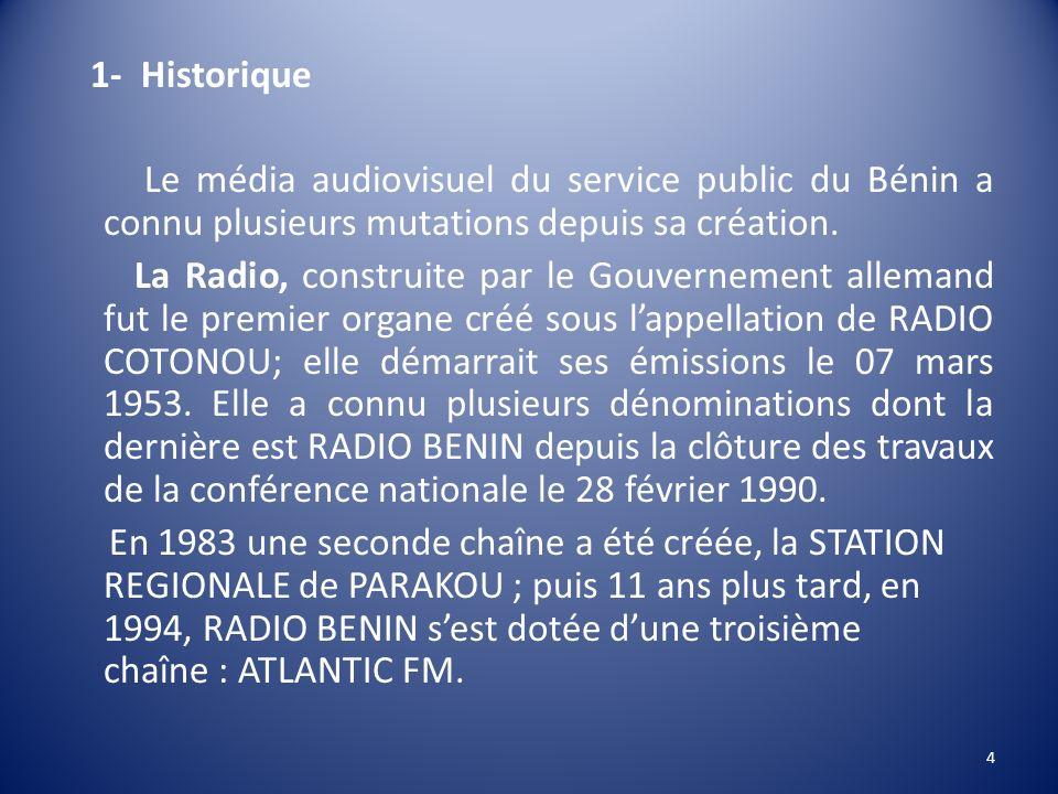 1- Historique Le média audiovisuel du service public du Bénin a connu plusieurs mutations depuis sa création.