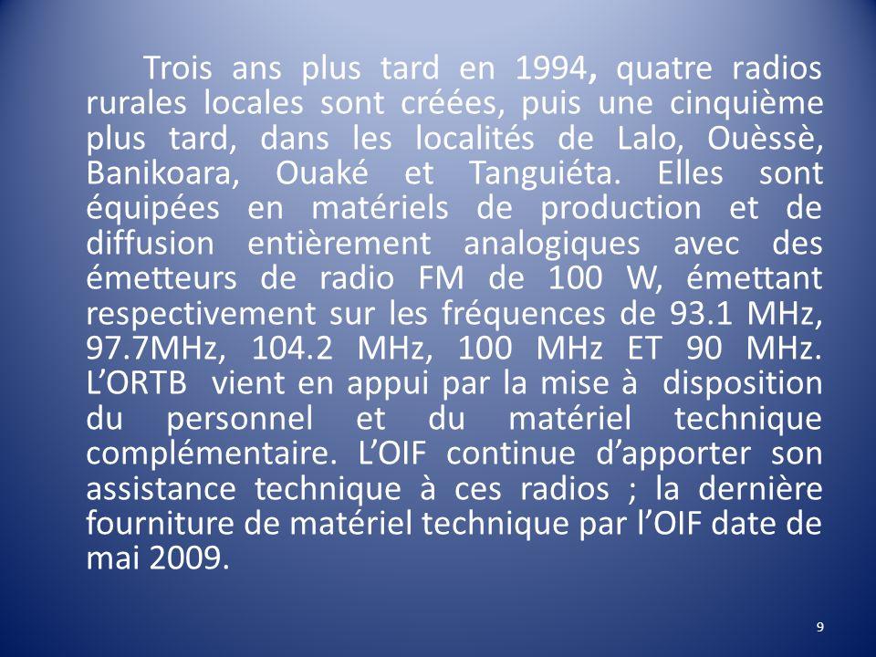 Trois ans plus tard en 1994, quatre radios rurales locales sont créées, puis une cinquième plus tard, dans les localités de Lalo, Ouèssè, Banikoara, Ouaké et Tanguiéta.