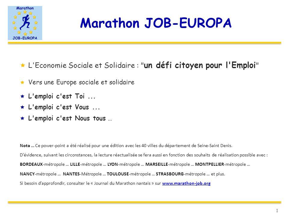 Marathon JOB-EUROPA L Economie Sociale et Solidaire : un défi citoyen pour l Emploi Vers une Europe sociale et solidaire.