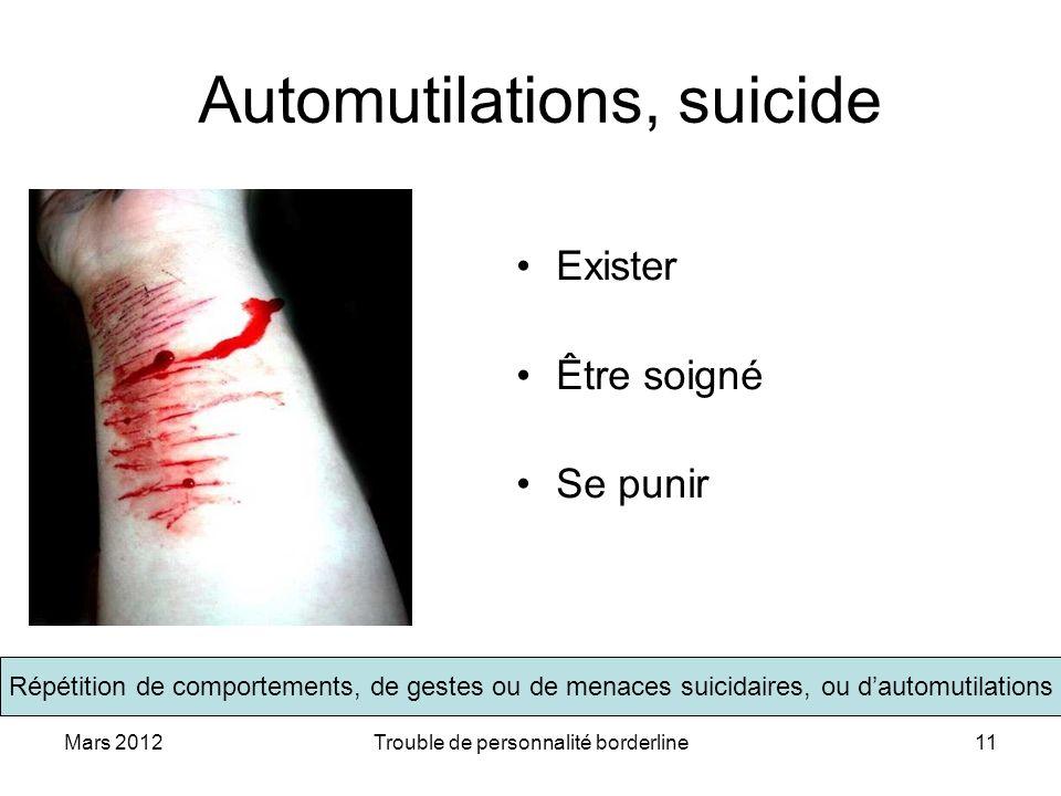 Automutilations, suicide