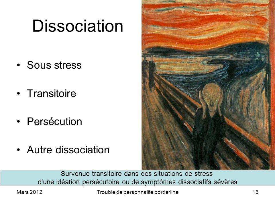 Dissociation Sous stress Transitoire Persécution Autre dissociation