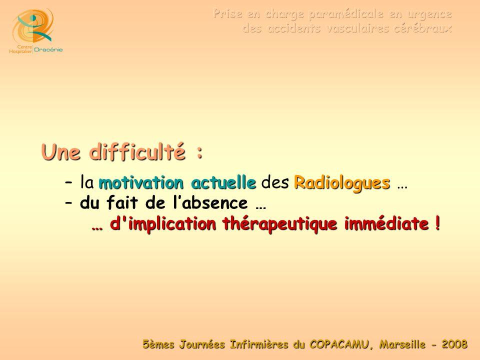 Une difficulté : la motivation actuelle des Radiologues …