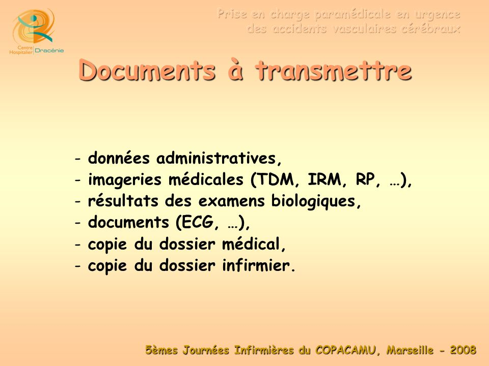 Documents à transmettre