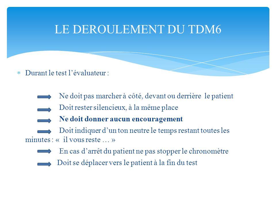 LE DEROULEMENT DU TDM6 Durant le test l'évaluateur :