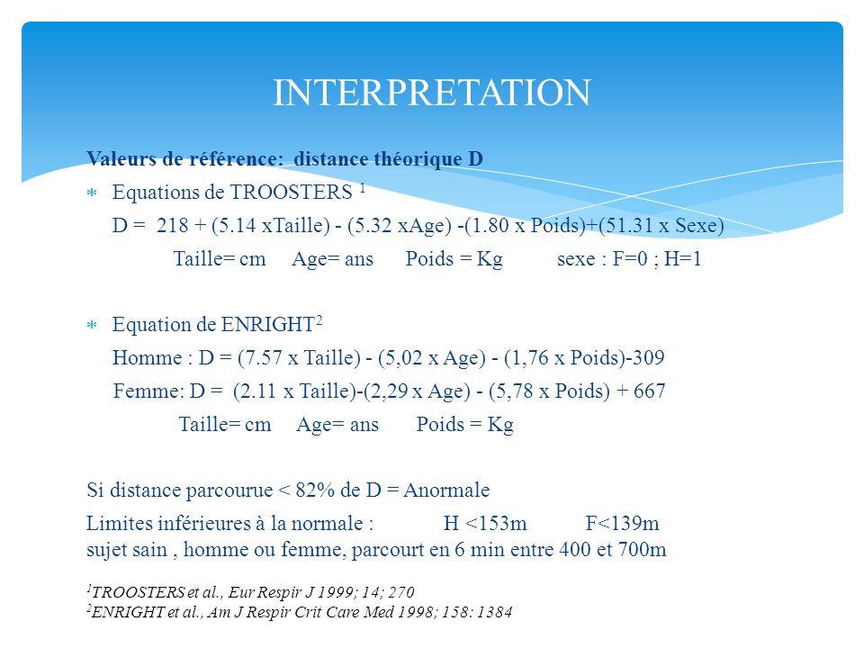 INTERPRETATION Valeurs de référence: distance théorique D