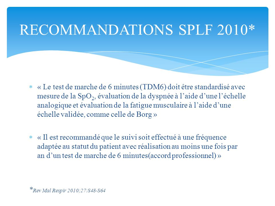 RECOMMANDATIONS SPLF 2010*