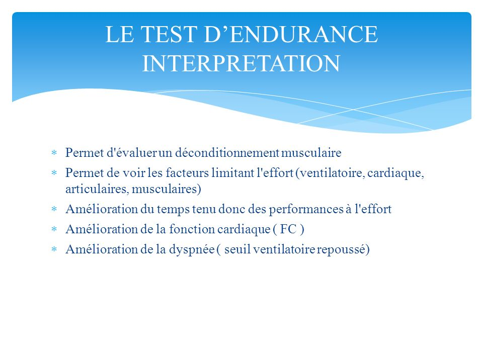 LE TEST D'ENDURANCE INTERPRETATION