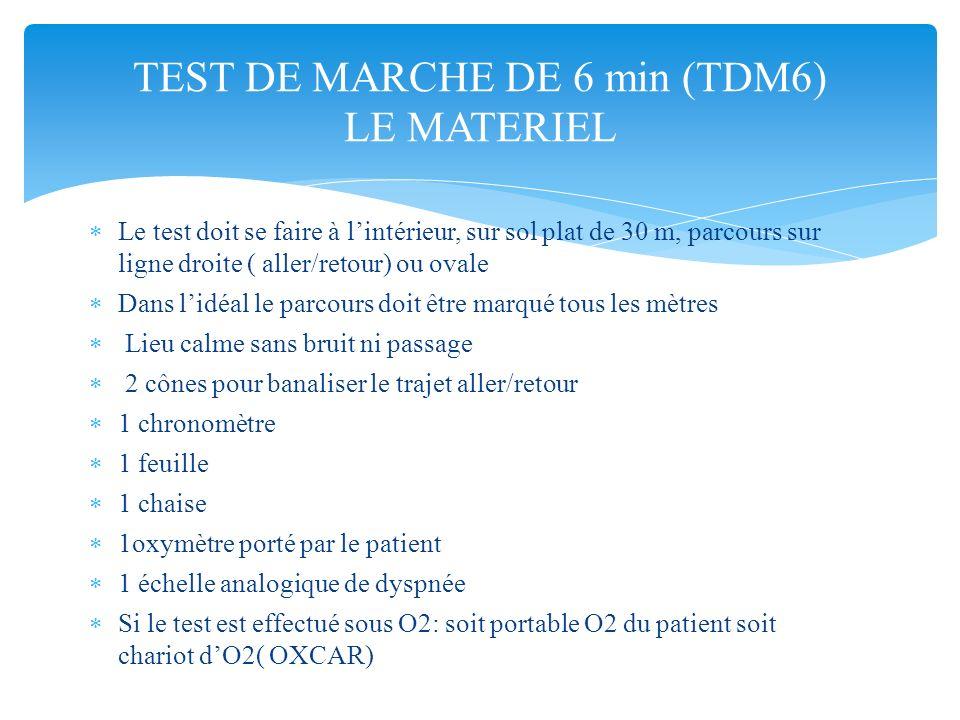 TEST DE MARCHE DE 6 min (TDM6) LE MATERIEL