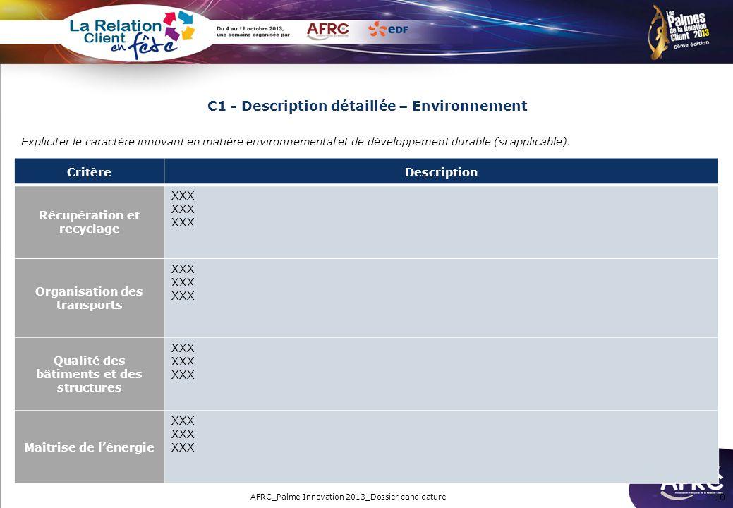 C1 - Description détaillée – Environnement