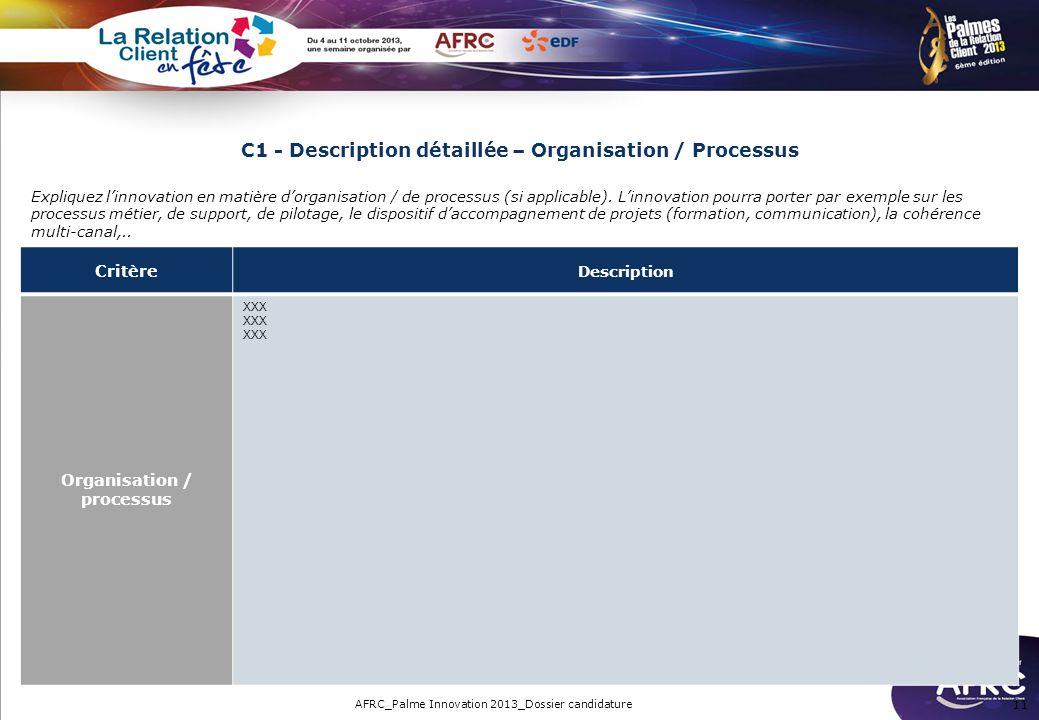 C1 - Description détaillée – Organisation / Processus