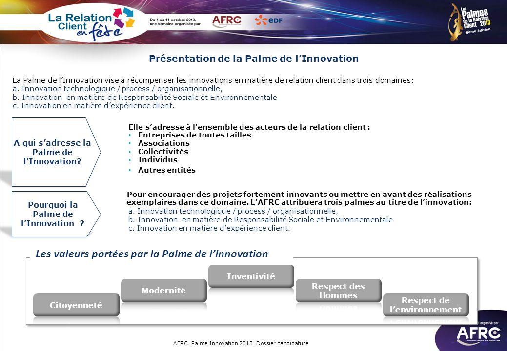 Les valeurs portées par la Palme de l'Innovation