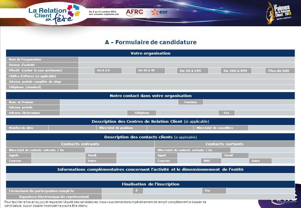 A - Formulaire de candidature
