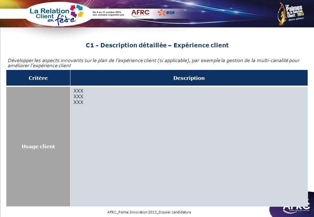 C1 - Description détaillée – Expérience client