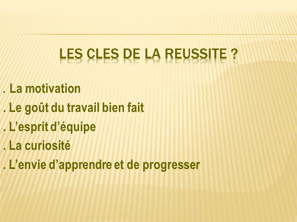 LES CLES DE LA REUSSITE . La motivation