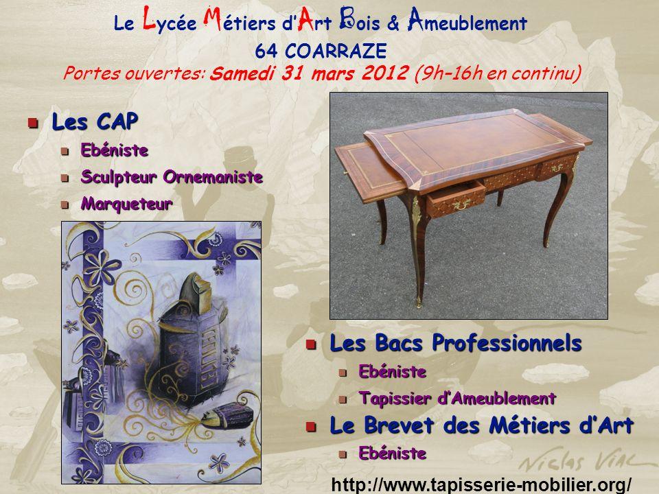 Le Lycée Métiers d'Art Bois & Ameublement