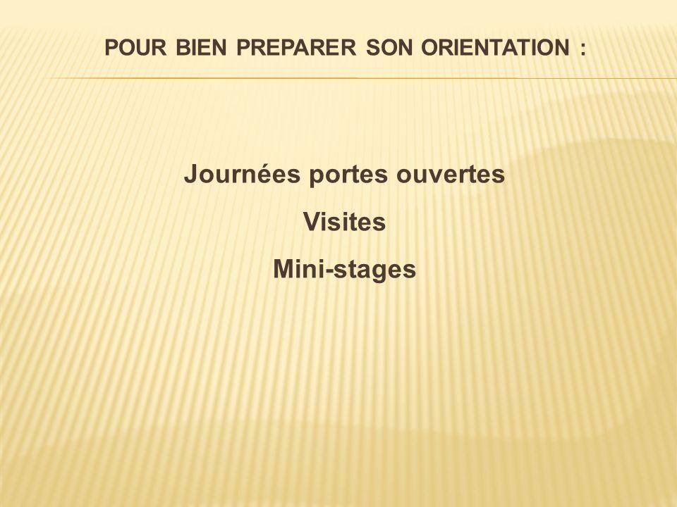 POUR BIEN PREPARER SON ORIENTATION : Journées portes ouvertes