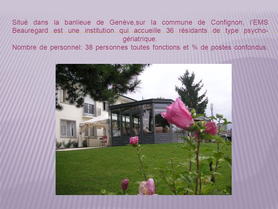 Situé dans la banlieue de Genève,sur la commune de Confignon, l'EMS Beauregard est une institution qui accueille 36 résidants de type psycho-gériatrique.