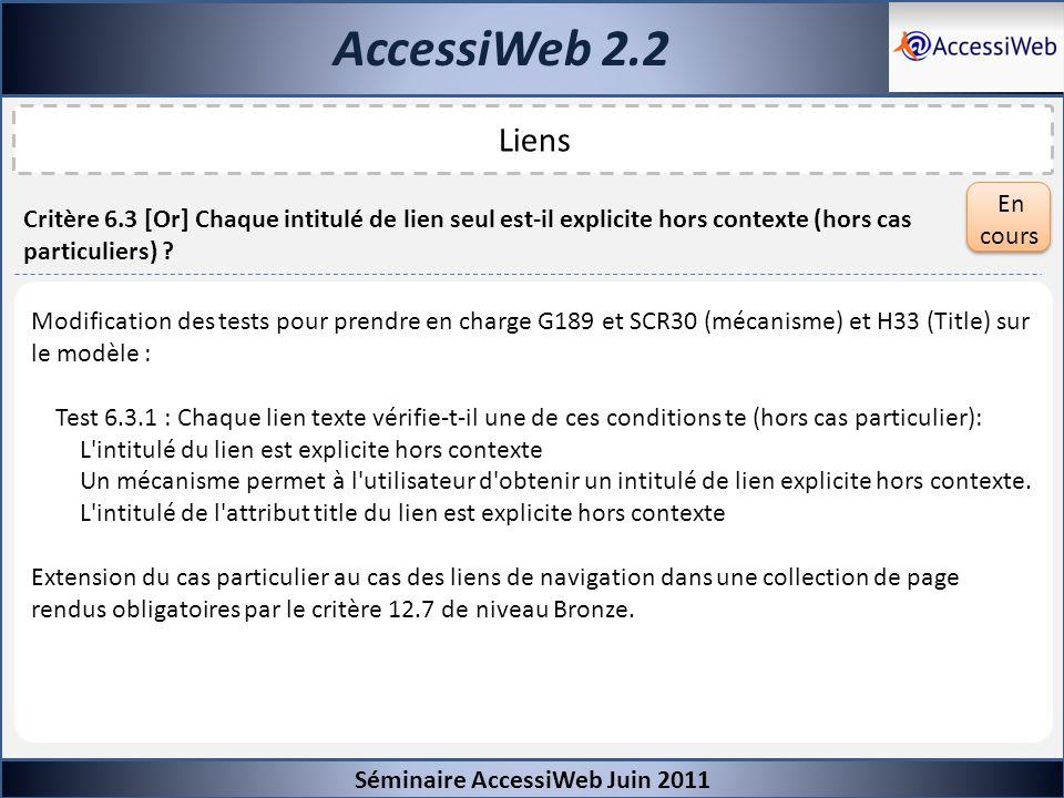 AccessiWeb 2.2 Liens En cours