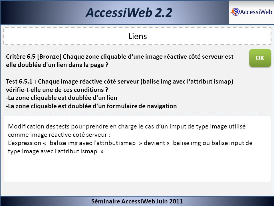 AccessiWeb 2.2Séminaire AccessiWeb Juin 2011. Liens. OK.