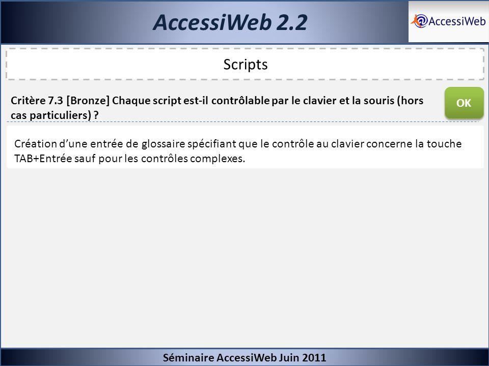 AccessiWeb 2.2 Séminaire AccessiWeb Juin 2011. Scripts. OK.