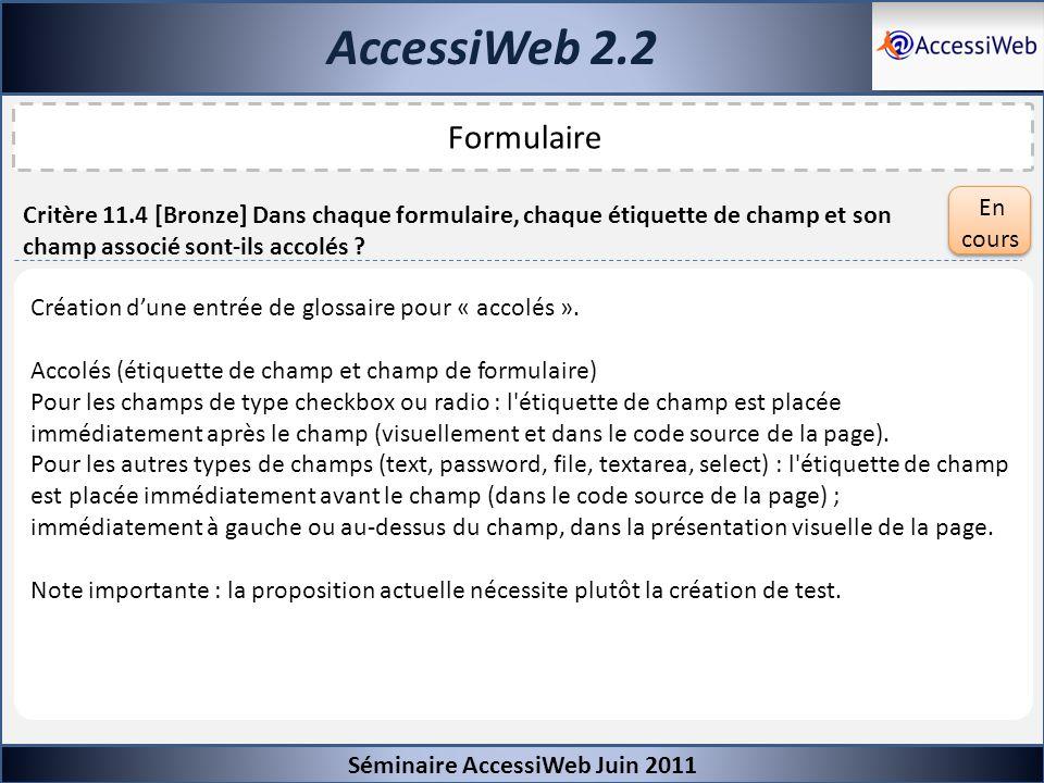 AccessiWeb 2.2 Formulaire En cours