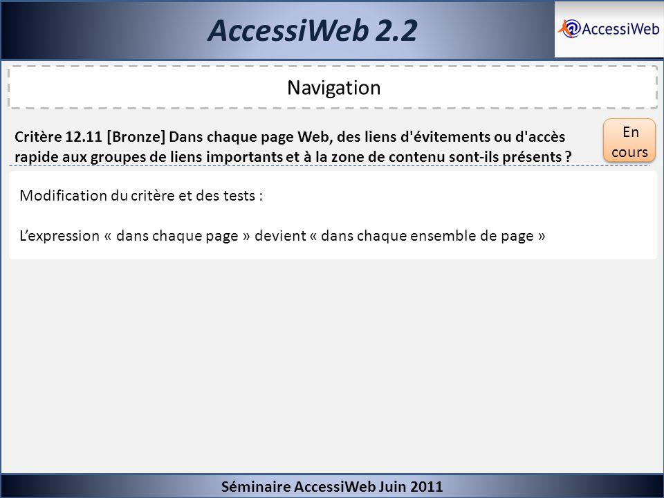 AccessiWeb 2.2 Navigation En cours