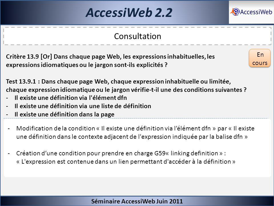 AccessiWeb 2.2 Consultation En cours