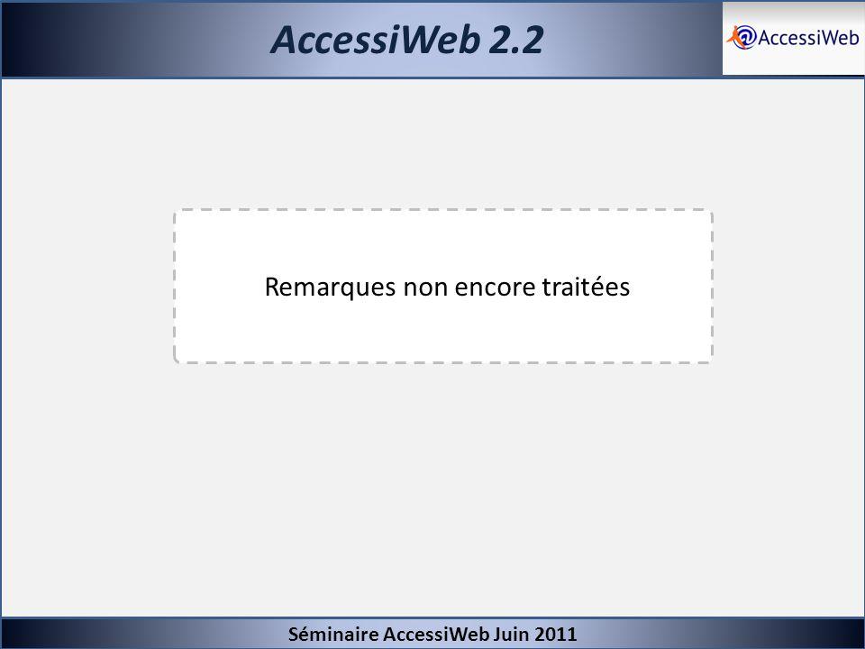 AccessiWeb 2.2 Remarques non encore traitées