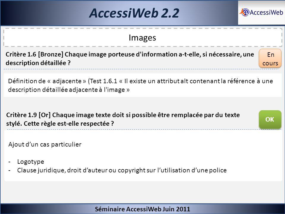 AccessiWeb 2.2 Images Séminaire AccessiWeb Juin 2011