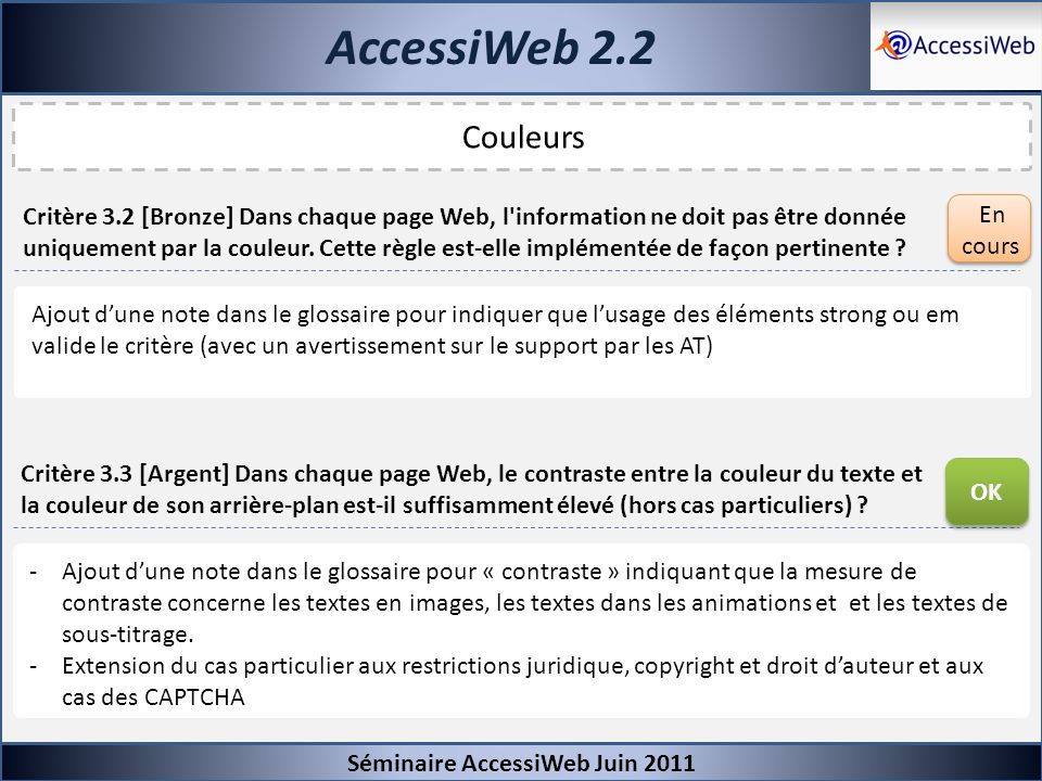 AccessiWeb 2.2Séminaire AccessiWeb Juin 2011. Couleurs.