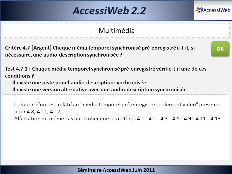 AccessiWeb 2.2 Multimédia