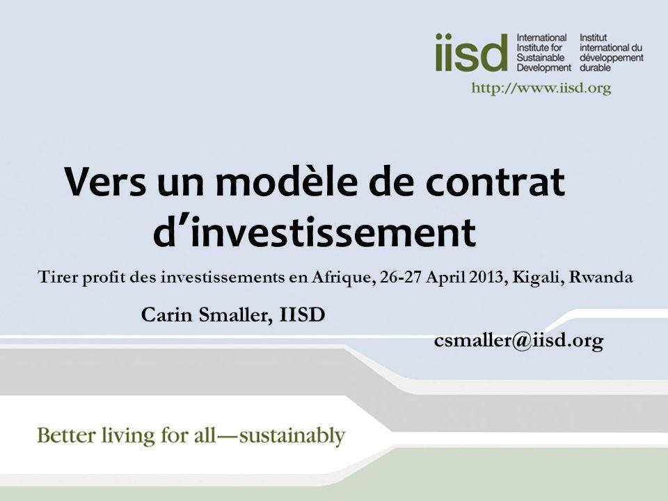 Vers un modèle de contrat d'investissement