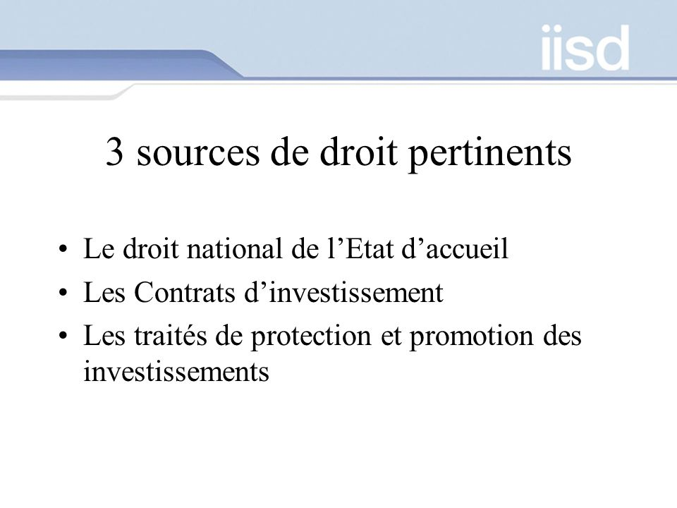 3 sources de droit pertinents