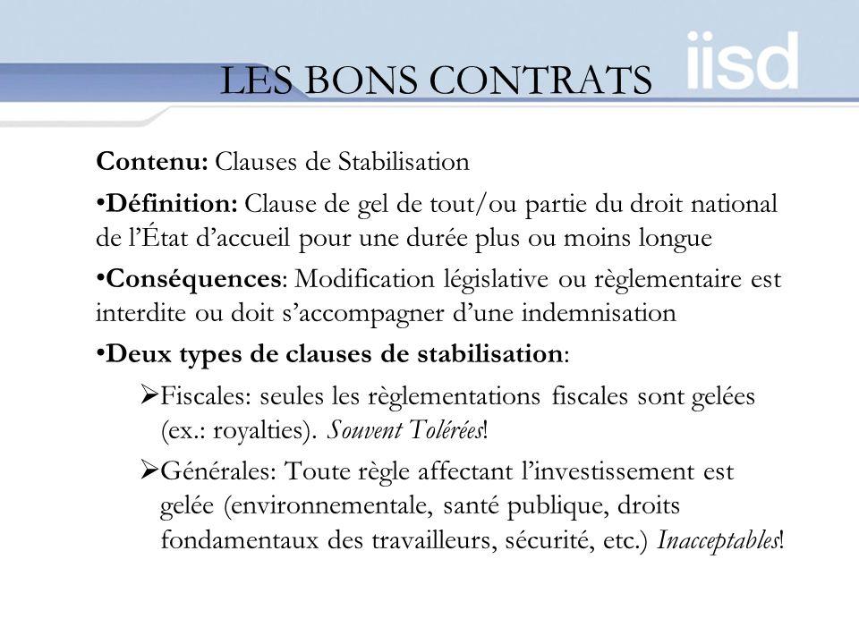 LES BONS CONTRATS Contenu: Clauses de Stabilisation