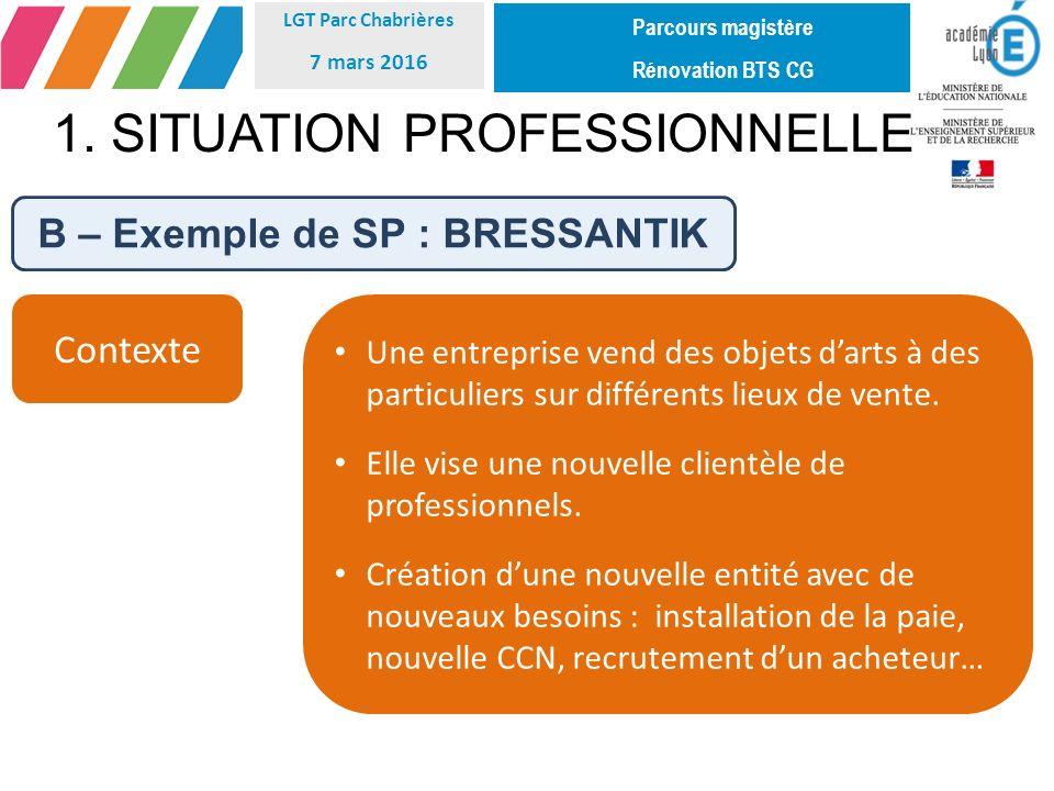 B – Exemple de SP : BRESSANTIK