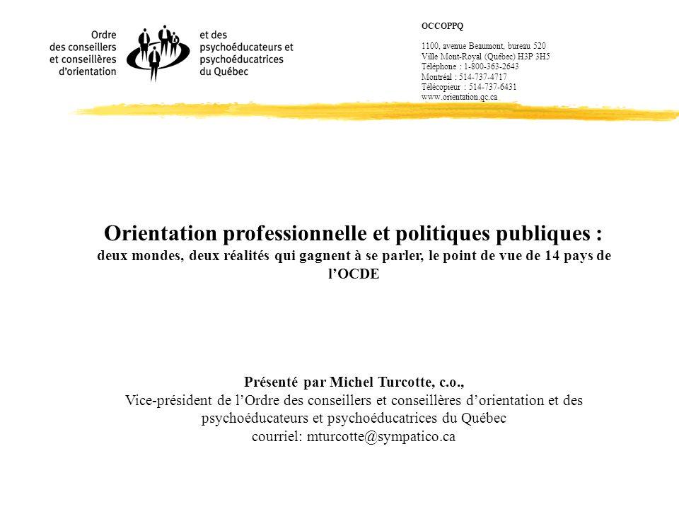 Orientation professionnelle et politiques publiques :