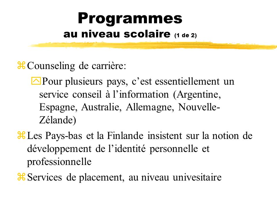 Programmes au niveau scolaire (1 de 2)