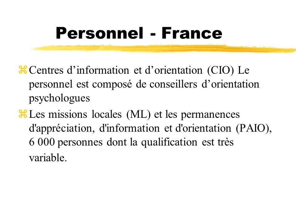 Personnel - France Centres d'information et d'orientation (CIO) Le personnel est composé de conseillers d'orientation psychologues.