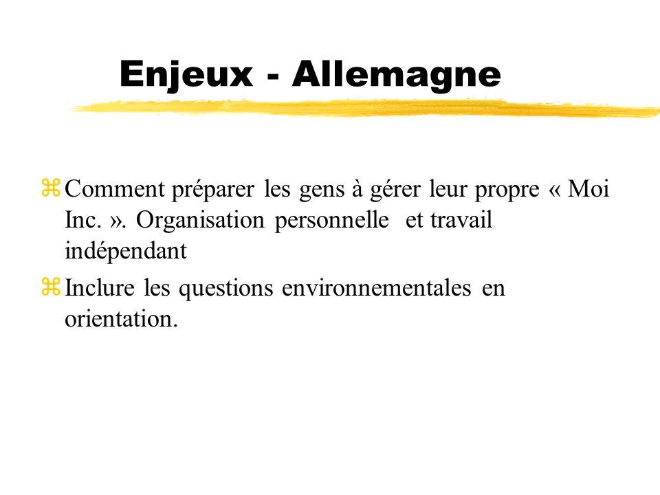 Enjeux - Allemagne Comment préparer les gens à gérer leur propre « Moi Inc. ». Organisation personnelle et travail indépendant.