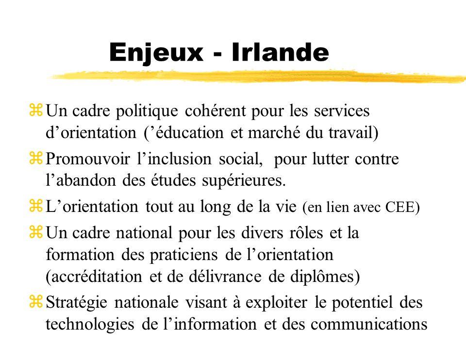 Enjeux - Irlande Un cadre politique cohérent pour les services d'orientation ('éducation et marché du travail)