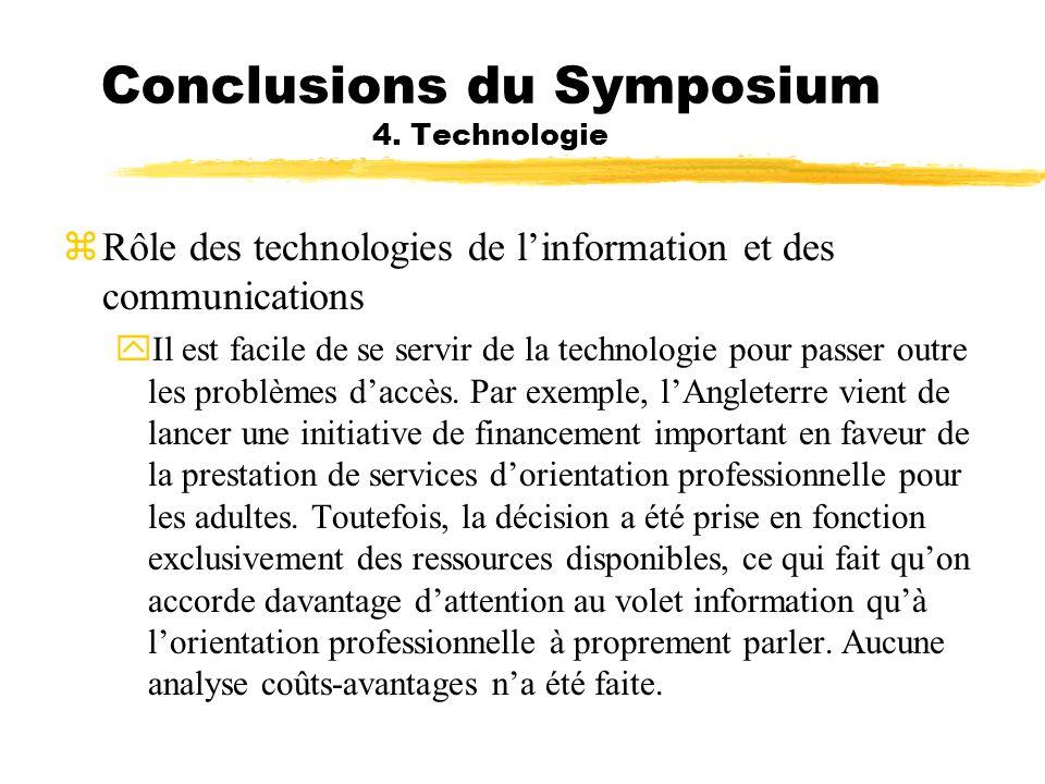 Conclusions du Symposium 4. Technologie