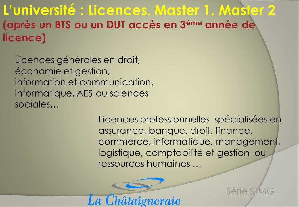 L'université : Licences, Master 1, Master 2