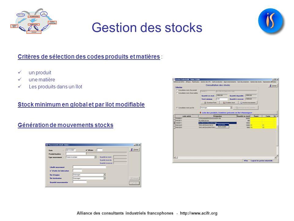 Gestion des stocks Critères de sélection des codes produits et matières : un produit. une matière.