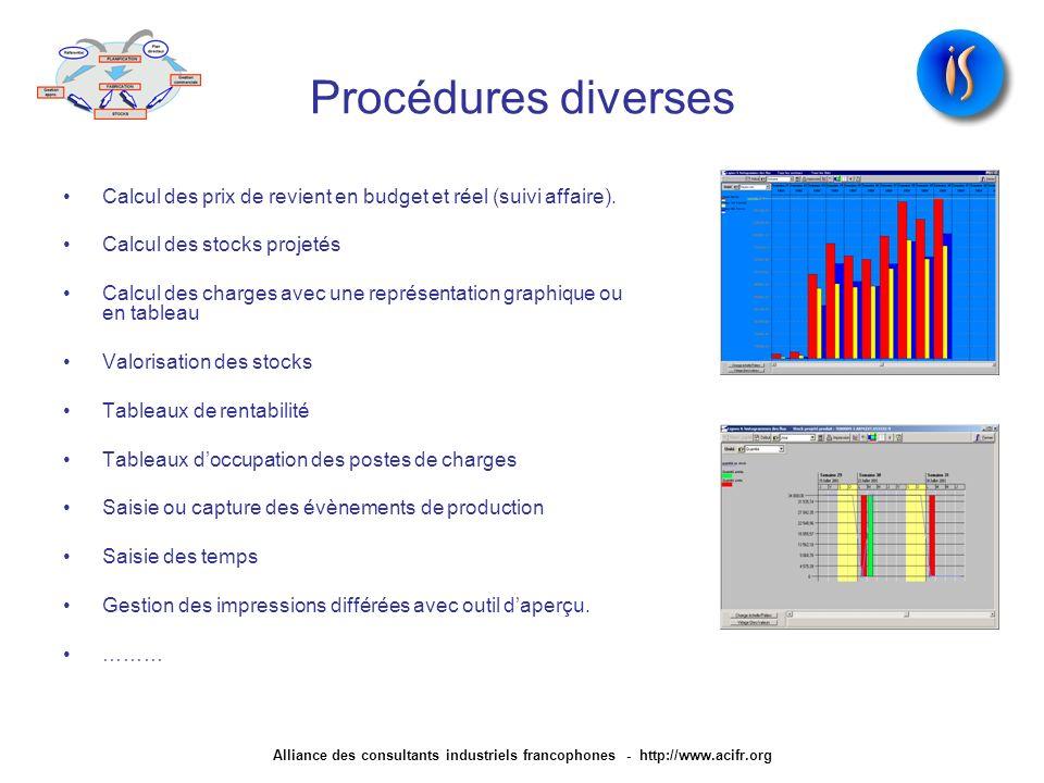 Procédures diverses Calcul des prix de revient en budget et réel (suivi affaire). Calcul des stocks projetés.