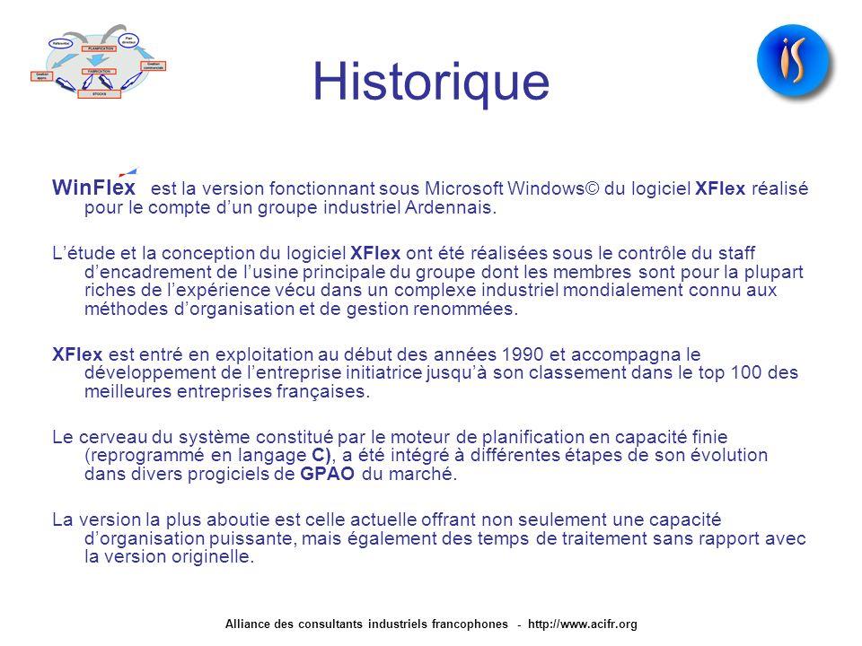 Historique WinFlex est la version fonctionnant sous Microsoft Windows© du logiciel XFlex réalisé pour le compte d'un groupe industriel Ardennais.