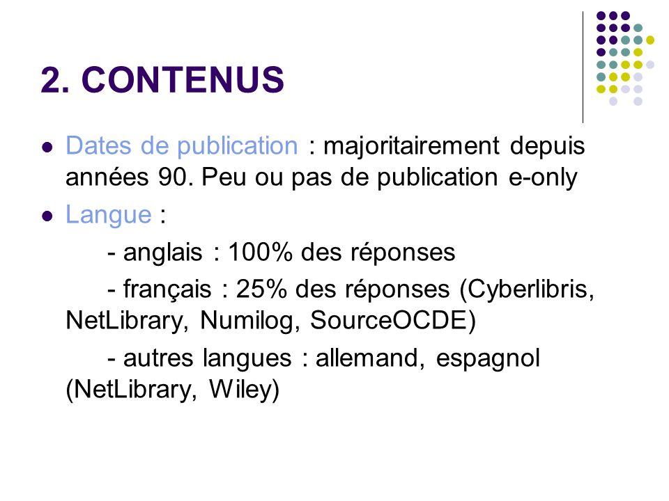 2. CONTENUSDates de publication : majoritairement depuis années 90. Peu ou pas de publication e-only.