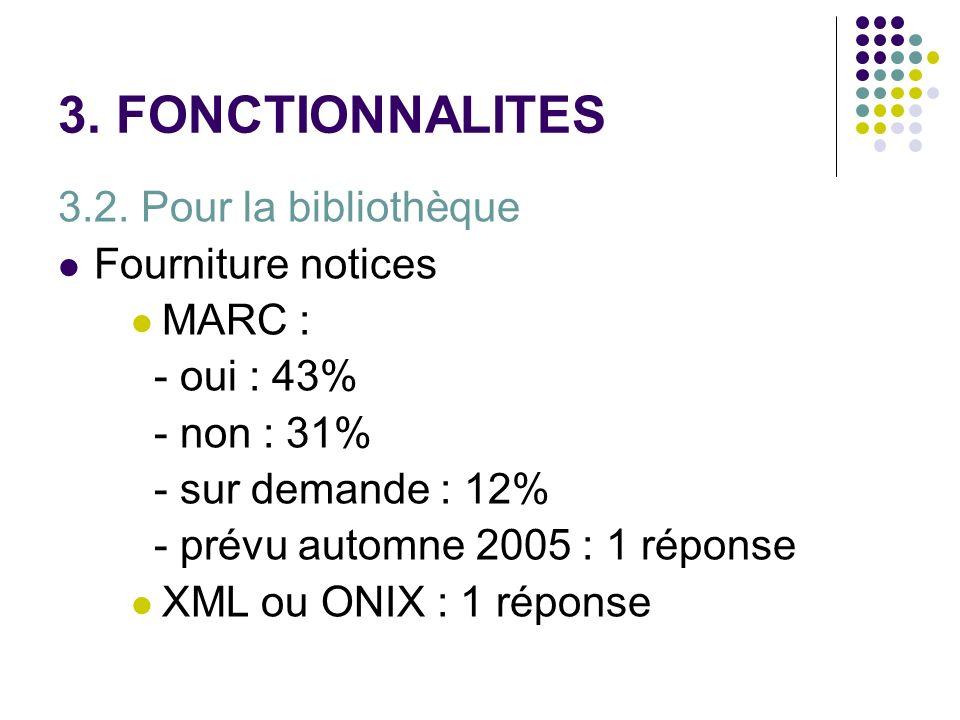 3. FONCTIONNALITES 3.2. Pour la bibliothèque Fourniture notices MARC :